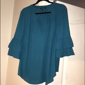 Teal Double Ruffle Bell Sleeve Blouse